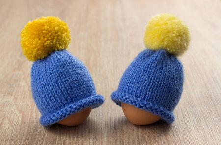 pompon: hat for egg Stock Photo