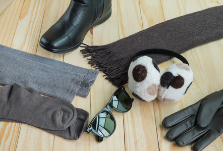 earmuff: Winter accessories including clothing, gloves, boots, scarf, sunglasses, hose and earmuff