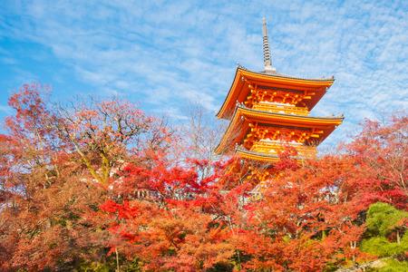 The pagoda of Kiyomizu-dera in Kyoto, Japan.,Kyoto, Japan at Kiyomizu-dera Temple in the autumn. Stock Photo