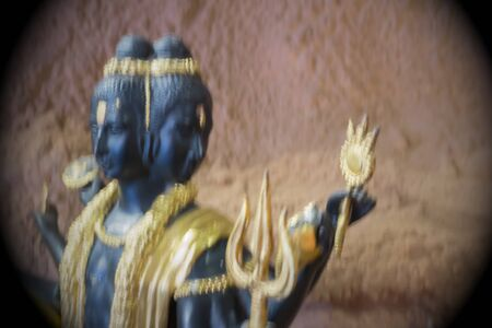 indian art: The blur Brahma, the Hindu God of Creation, is located at Tamai Temple.