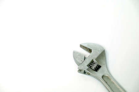 tightened: A silver wrench for tightened object with scale Stock Photo