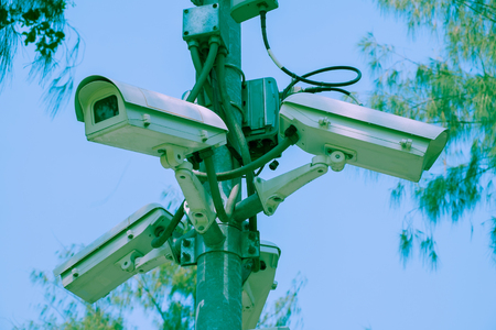 gaurd: CCTV cameras installed at the intersection for record events Stock Photo