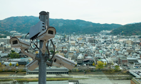 closed circuit television: CCTV cameras installed in the city, Japan