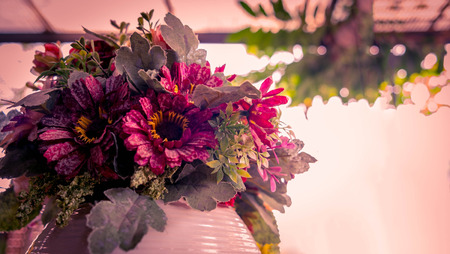 faked: Classic flowers in the vase, Vintage of Gerbera flowers, This Faked flower is made of fabric.