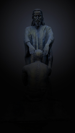 Fides tua te salvum fecit, Christian saint statue on black background , Believe in God