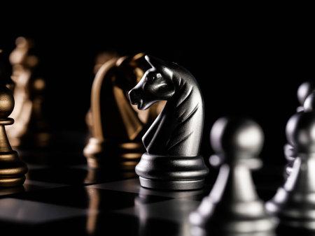 Golden chess board game. Strategy ideas concept business futuristic graphic icon.