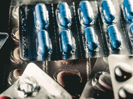 pharmaceuticals antibiotics pills medicine colorful antibacterials pills on white background capsule pill medicine
