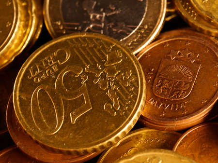 European money, full screen pile of euro assorted coins