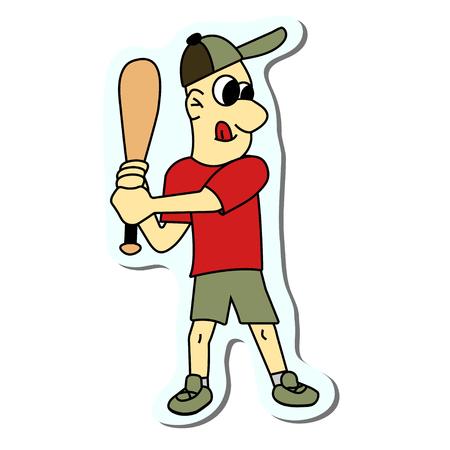 boy play baseball sticker. stock vector illustration