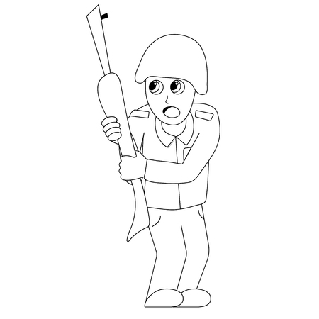 Scared soldier. Isolated outline stock vector illustration Illustration