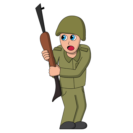 Scared soldier on war. Isolated stock vector illustration