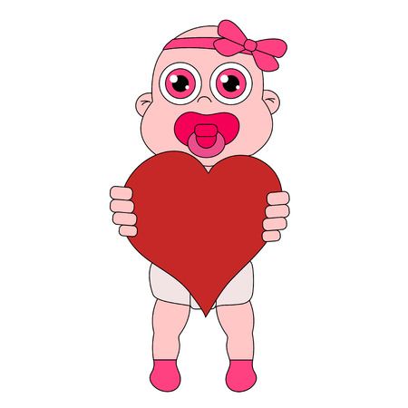 Baby girl with heart. Stock vector isolated illustration