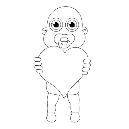 Baby with heart outline. Stock vector isolated illustration Illustration