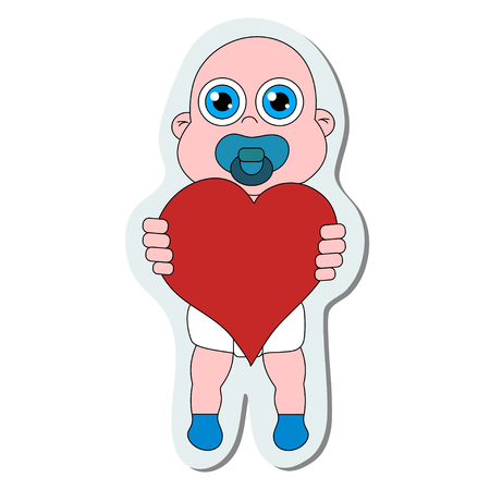 Baby with heart sticker. Stock vector isolated illustration