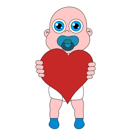 Baby with heart. Stock vector isolated illustration
