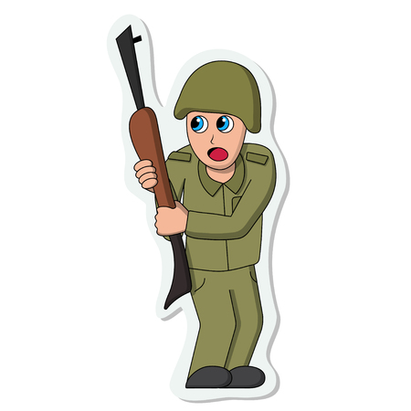 Scared soldier sticker. Isolated stock vector illustration
