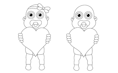Baby girl and boy with hearts outline. Stock vector isolated illustration