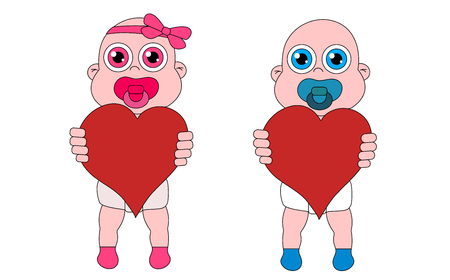 Baby girl and boy with hearts. Stock vector isolated illustration