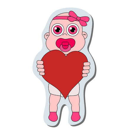 Baby girl with heart sticker. Stock vector isolated illustration