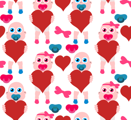 Baby girl and boy with hearts for mother s day. Stock vector seamless pattern