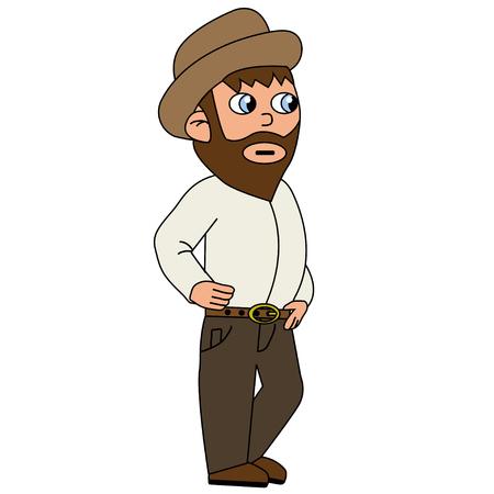 Farmer look around. Isolated stock vector illustration