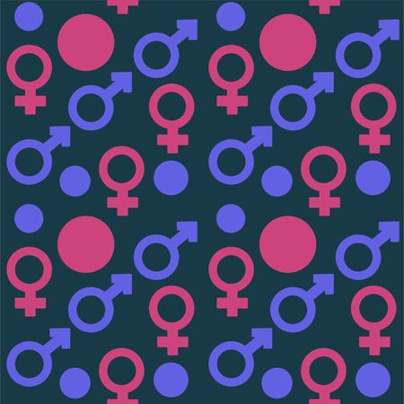gender signs wallpaper. Stock vector seamless pattern Ilustração