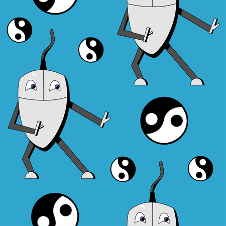 Kung fu computer mouse. seamless vector pattern Illustration