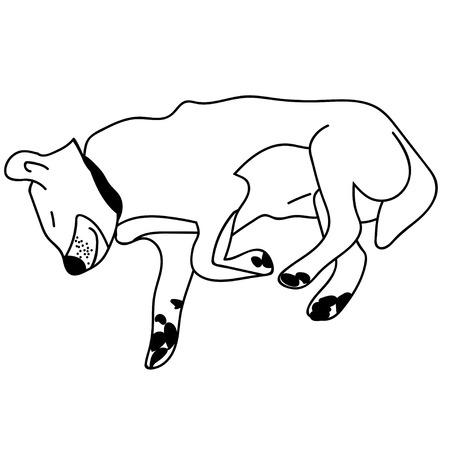 Sleeping dog outline. Isolated stock vector illustration