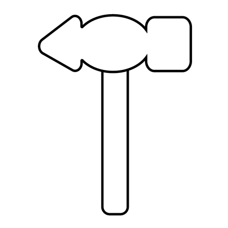 Outline hammer icon. Isolated stock vector illustration