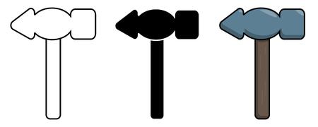 Hammer icon set. Isolated stock vector illustration Illustration