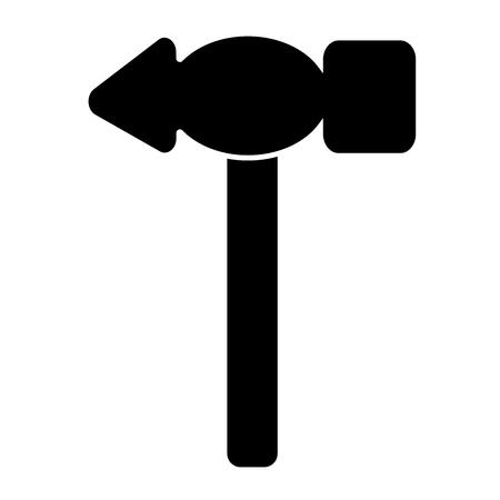 Hammer black icon. Isolated stock vector illustration