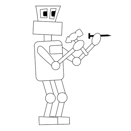 the robot is hammering a nail at work. Isolated outline stock vector illustration