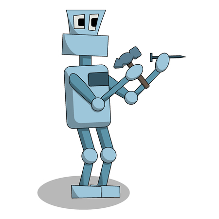 the robot is hammering a nail at work. Isolated cartoon stock vector illustration
