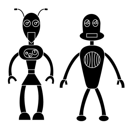 Robot couple simple character. Isolated stock vector illustration
