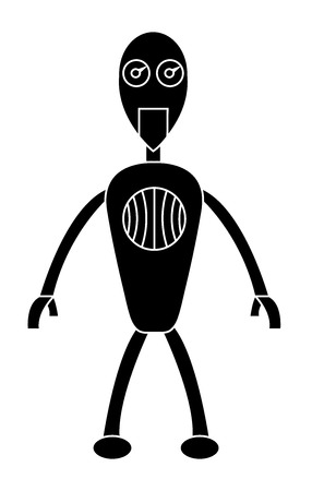 Robot boy simple character. Isolated stock vector illustration