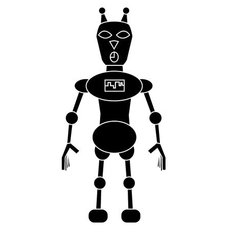 Robot cat simple character. Isolated stock vector illustration