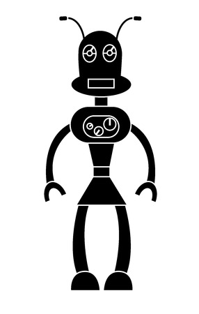 Robot girl simple character. Isolated stock vector illustration Illustration