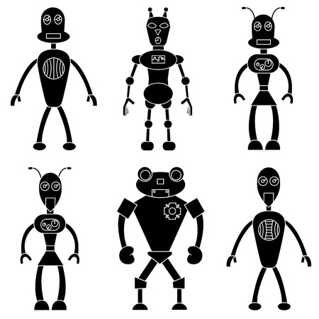 Set of robots in simple style. Isolated stock vector illustration Illustration
