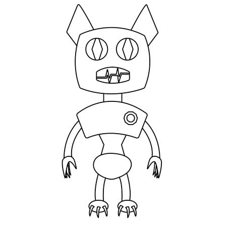 Bat shape robot. Isolated outline stock vector illustration