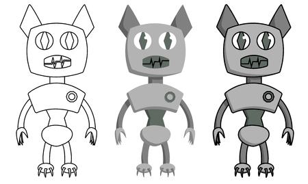Set of bat shape robot. Isolated cartoon stock vector illustration