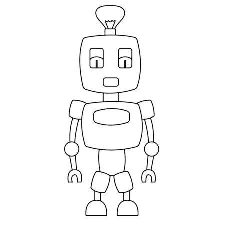 Cute toy robot. Isolated outline stock vector illustration