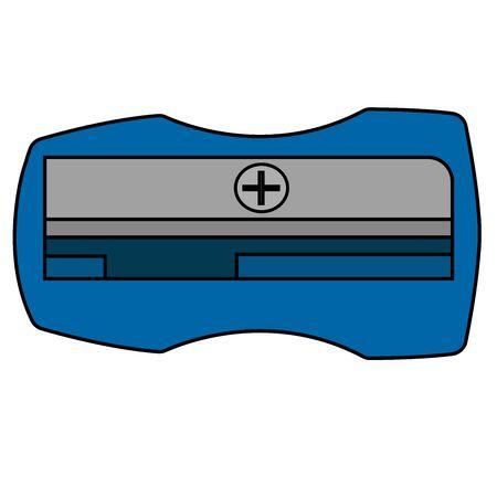 blue sharpener pencil icon. Isolated cartoon stock vector illustration Illustration