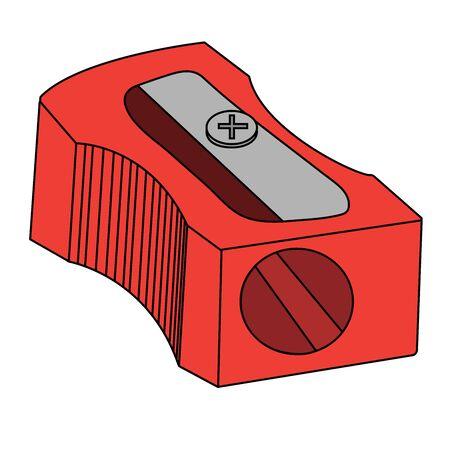 red sharpener pencil. Isolated cartoon stock vector illustration