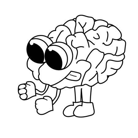 cute purposeful cartoon brain. Isolated outline stock vector illustration Stock Photo
