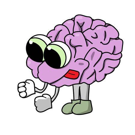 cute purposeful cartoon brain. Isolated stock vector illustration Stock Photo
