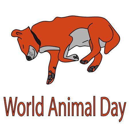 dog on the poster for World Animal Day. isolated stock vector illustration Illustration