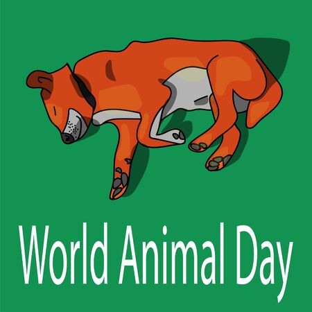 dog on the poster for World Animal Day. stock vector illustration Illustration