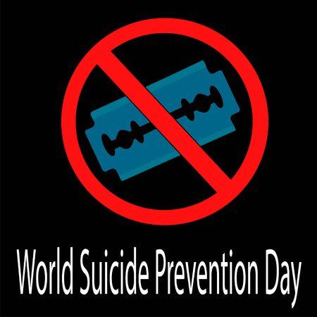 World Suicide Prevention Day. Celebrate in September 10, 2019. Razor blade. Design for poster, greeting card, banner. Vector illustration Illustration