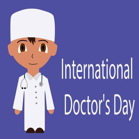 Cartoon male doctor. International doctors day. isolated flat stock vector illustration Illustration
