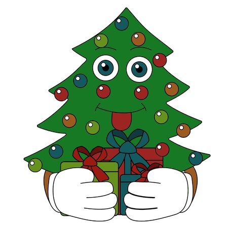 Christmas tree shows tongue and hides gifts. isolated cartoon stock vector illustration Illustration